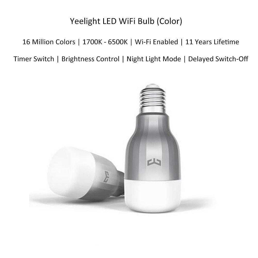 Bombilla LED inteligente Xiaomi Mi Yeelight original, 9 W, RGB, E27, WiFi, 220 V CA: Amazon.es: Electrónica