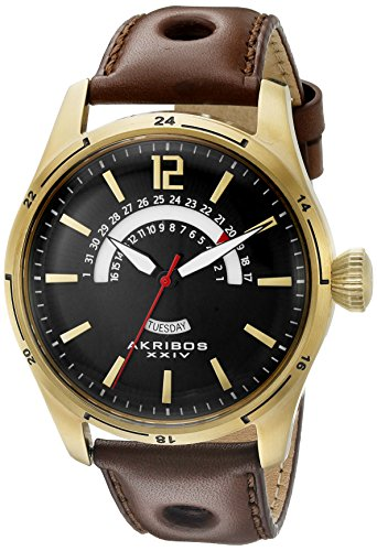 Akribos XXIV Men's AK850YG Round Black Dial Three Hand Quartz Gold Tone Strap Watch