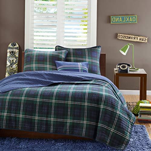 Kaputar Modern Reversible Blue Green Plaid Stripe Boys Quilt Set ~ Pillow New! | Model CMFRTRSTS - 4221 | Twin