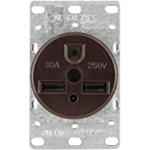 Cooper Wiring Devices 1234-BOX 30-Amp 2-Pole, 3-Wire 250-Volts Heavy Duty Grade Flush Mount Power Receptacle, Brown