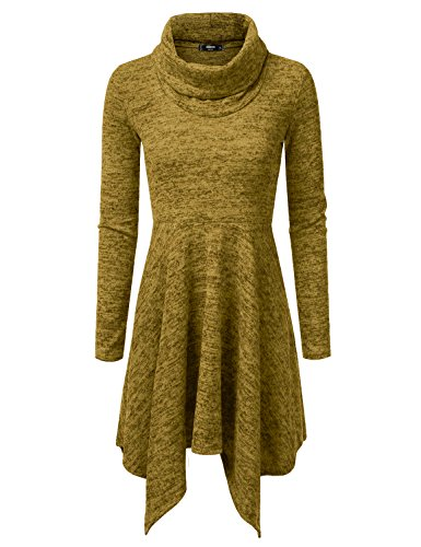NINEXIS Womens Cowl Neck Long Sleeve Flowy Sweater Dress Mustard L