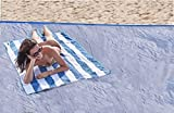 79 Inch x 59 Inch Beach Blanket Sand Proof Blanket Waterproof with 4 Stakes Grey Picnic Mat for Family