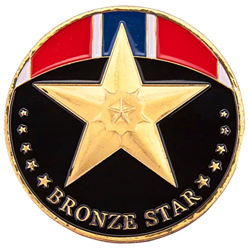 Bronze Star Badge 1-Pack Gold Plated Challenge Coin J006