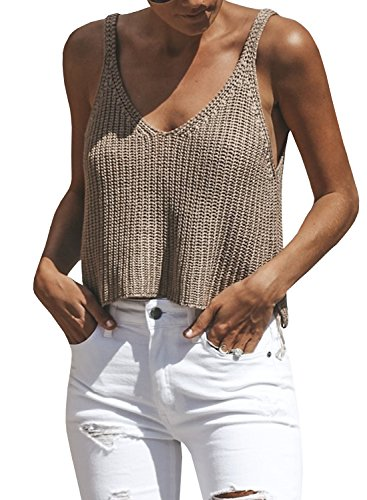 Ivay Women's Sleeveless Sweater Crop Top Solid Spaghetti Strap Knitted Tank by Ivay (Image #5)