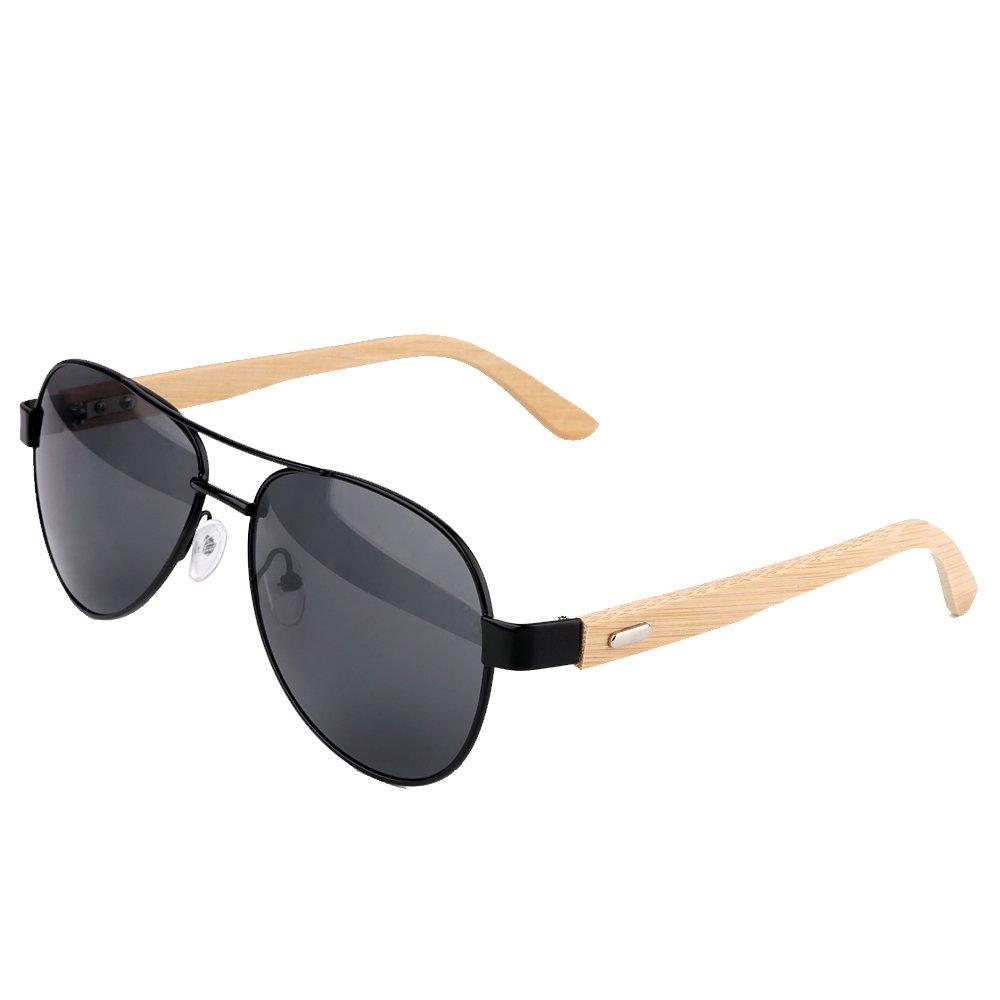 Wood Sunglasses for Man & Woman with Black Lens + Case,Shangdongpu
