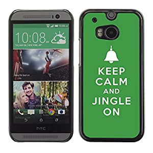 Qstar Arte & diseño plástico duro Fundas Cover Cubre Hard Case Cover para HTC One M8 ( Keep Jingle On Bells Christmas Green)