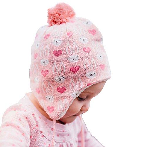 JAN & JUL Baby Girl Winter Earflap Beanie Hats (S: 3-9 Months, Pink Bunny) ()