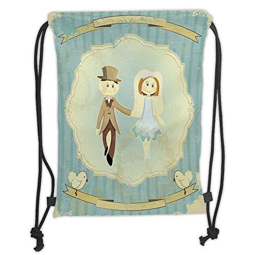 Custom Printed Drawstring Sack Backpacks Bags,Wedding Decorations,Vintage Retro Design Bride Groom Pigeons Ribbon Grunge,Slate Blue Avocado Green Soft Satin,5 Liter Capacity,Adjustable String Closure,