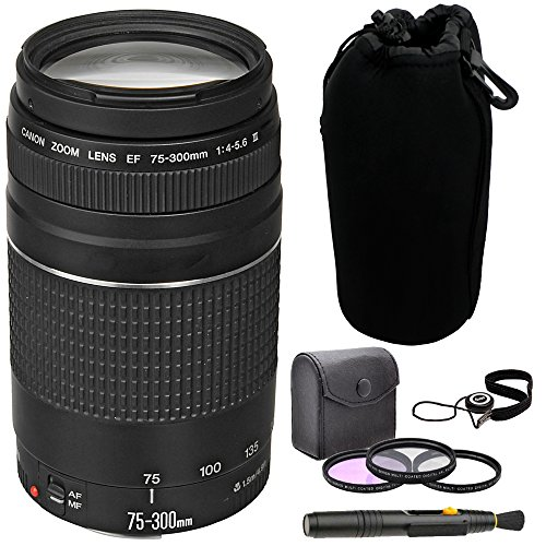 Canon EF 75-300mm f/4-5.6 III Telephoto Zoom Lens + 58mm Multi Coated Photo/Video 3-Filter Kit Black + Kit