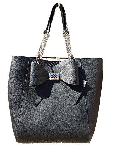 Betsey Johnson Pebble Textured Black Faux Leather Bag In A Bag Bow Trim Large Tote Shoulder (Bow Trim Shoulder Bag)
