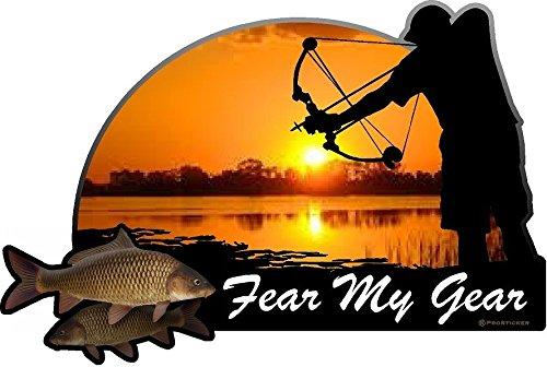 """ProSticker 1531 (One) 4"""" X 6"""" Fishing Art Series Fear My Gear Arrow Decals Sticker"""
