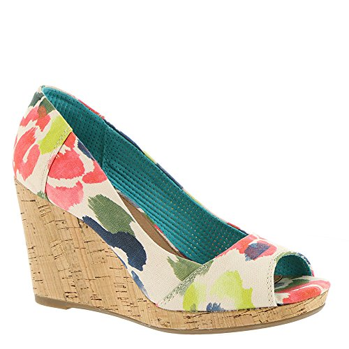 TOMS Women's Stella Wedge Tangerine Watercolor Floral 10 B US (Canvas Open Toe Wedge Heel)