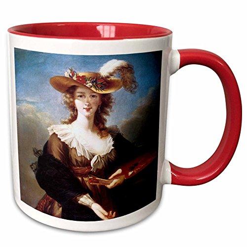 (3dRose BLN Portrait Gallery by the Masters Fine Art Collection - Self-Portrait by Elisabeth Vigee-Lebrun - 15oz Two-Tone Red Mug (mug_128109_10))