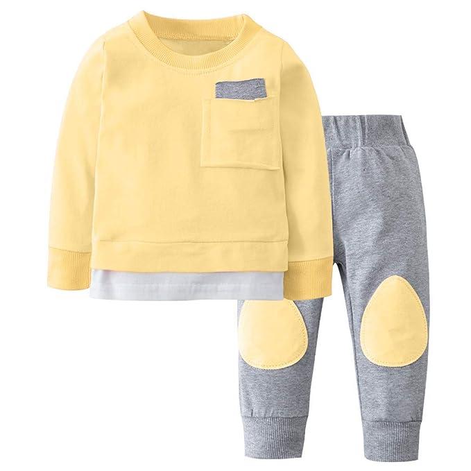 Mitlfuny Invierno Primavera Unisex Camisetas Ropa Bebé Niños Sudaderas de Manga Larga Color Sólido Pespunte Recién