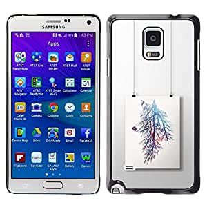 LECELL--Funda protectora / Cubierta / Piel For Samsung Galaxy Note 4 SM-N910 -- Painting Branch Colorful Tree --