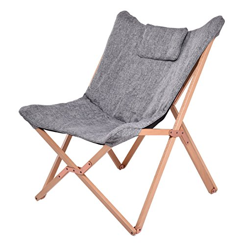 Giantex Folding Butterfly Chair Seat Wood Frame Home Office Furniture Portable (Gray) by Giantex