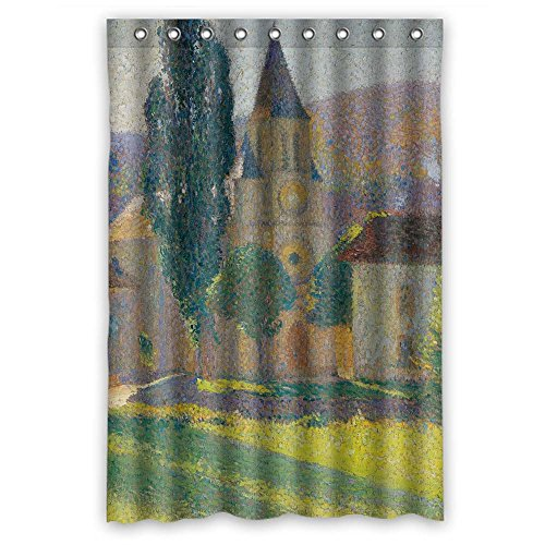 MaSoyy Polyester Bath Curtains Of Henri Martin - L Eglise De Labastide Du Vert For Bf Family Artwork Kids Girl Father. Durable Width X Height / 48 X 72 Inches / W H 120 By 180 Cm(fabric) (Vert Bath)