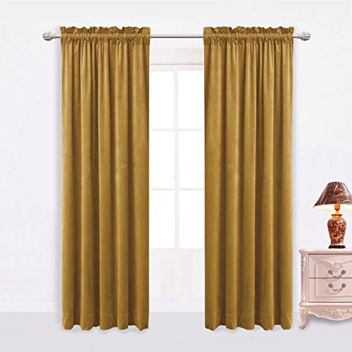 Sideli Solid Rod Pocket Matt Heavy Velvet Curtain Drape Panel Blackout Super Soft in Theater| Bedroom| Living Room| Hotel 1 Piece (52-Inch-by-96-Inch, Moss green--rod (7 Piece Living Room Package)