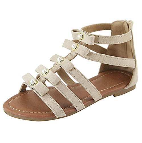 7a097e6db78 Women s Ankle Strap Gladiator Flat Sandal Social Club Back Zip Strappy  Roman Summer Shoes Natural 6