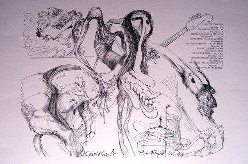 Print Pink Floyd Sketch Winter Tour 1974 Retro Art Print — Poster Size — Print of Retro Concert Poster — Features Nick Mason, Roger Waters, Richard Wright, Syd Barrett and David Gilmour.