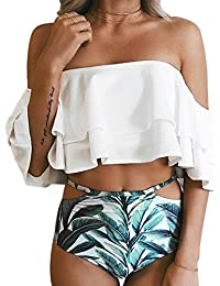 db63b455954d0 Women Two Piece Off Shoulder Ruffled Flounce Crop Bikini Top with Print Cut  Out Bottoms