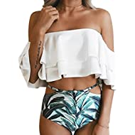 Women Two Piece Off Shoulder Ruffled Flounce Crop Bikini Top with Print Cut Out Bottoms