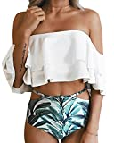 Tempt Me Women Two Piece Off Shoulder Ruffled Flounce Crop Bikini Top with Print Cut Out Bottoms White M
