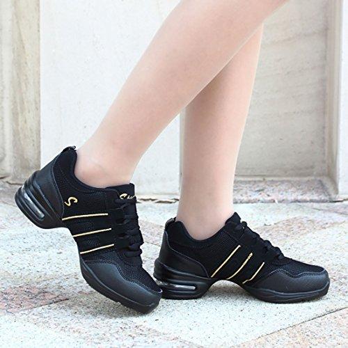 1505e4bbb8fd YIBLBOX Womens Mesh Ballroom Dance Sneaker Trainers Lightweight Jazz Heel  Shoes  Amazon.co.uk  Clothing