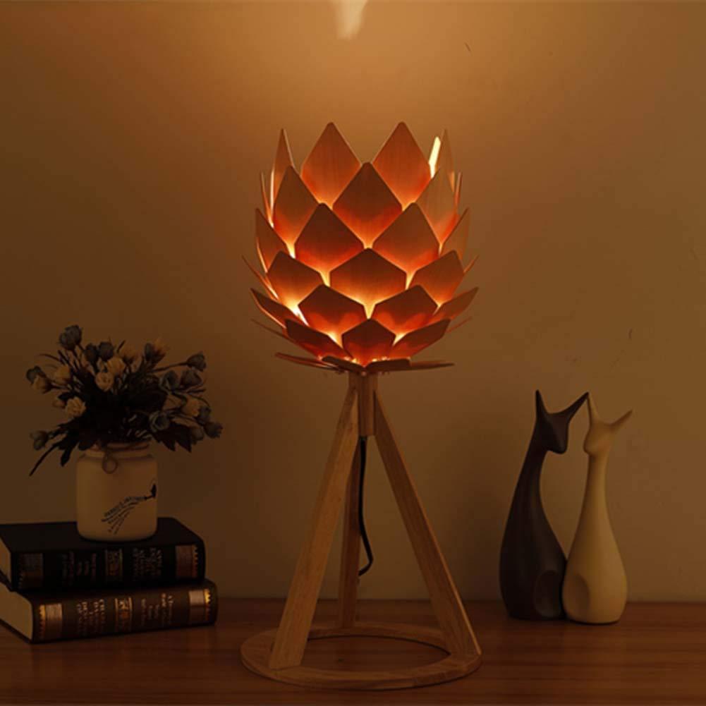 GAOYUN Pastorale Tischlampe Nordische Holztischlampe Schlafleuchte Nachttischlampe einfache Moderne, warme Holz-Studien-Schreibtisch-Lampe