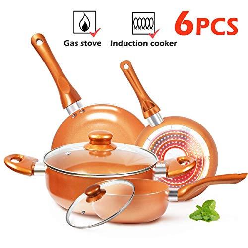 KUTIME 6pcs Cookware Set Non-stick Frying Pans Set Ceramic Coating Soup Pot, Milk Pot, Copper Aluminum Pan with Lid Gas Induction Compatible, 1 Year After sale service