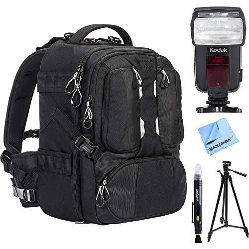 Tamrac ANVIL 17 Photo DSLR Camera and Laptop Backpack - Black (T0220-1919) w/ Flash Bundle Includes, Kodak Flash TTL 18-180 Power Zoom For Nikon, 72