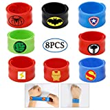 Superhero Slap Bracelets for Kids Boys & Girls Birthday Party Supplies Favors Wristband Accessories 8pcs