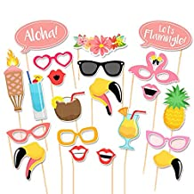 Elisona-21Pcs Funny Photo Booth Props Kit Photobooth Prop Card Cute Eyeglasses Pineapple Drinks Flower Band Pattern Decoration for Holiday Wedding Graduation Beach Birthday Tropical Hawaiian Summer Parties
