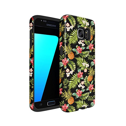 Tropical Pineapple, Hibiscus Flowers & Tropical Jungle Pattern Double Layer Hard PC Armor & Shock Absorbing TPU Tough Cover Shell For Samsung Galaxy S7 (Jungle Patterns)