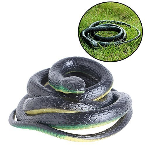 MyToy Realistic Rubber Black Fake Snakes Prank Halloween Horror Toys for Adults Children - Perfect for Halloween Decorations, Pranks or as Squirrel Repellent - 51 Inch Long -