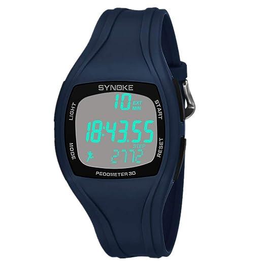 BBestseller Reloje Hombres, Relojes Deportivo Infantil electrónico Multifuncional Impermeable 50m Inteligente Podómetro Pulsera (Azul