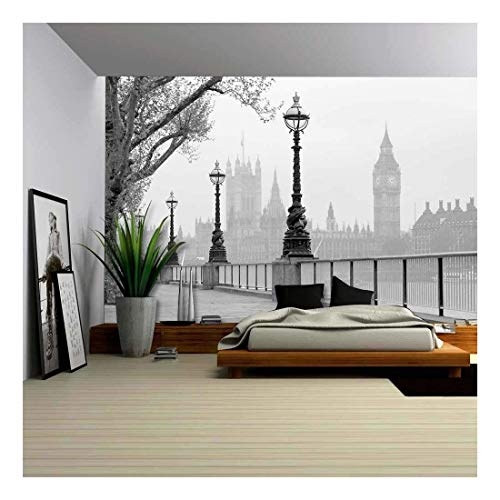 Churchill Clock - wall26 - Big Ben Houses of Parliament, Black and White Photo - Removable Wall Mural   Self-Adhesive Large Wallpaper - 66x96 inches