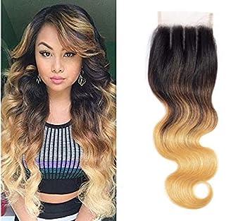 Amazon Com Ombre Brazilian Hair Body Wave Lace Closure 3 Tone