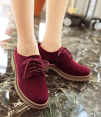 Pumps Flats Round Women's Aisun Red Casual Shoes Oxfords Dress Simple Wine Platform Lace Up Toe zvqqxtdU