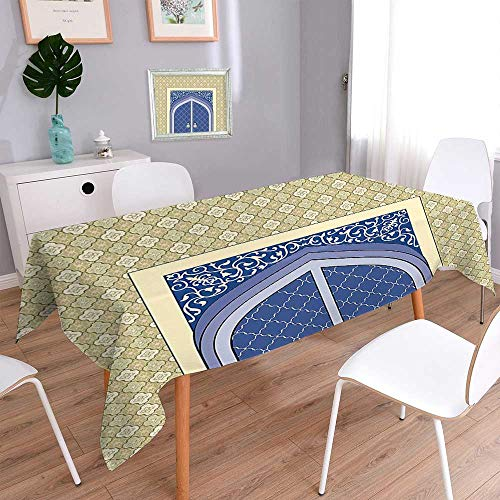 L-QN Square Polyester Tablecloth Medieval Door with Ottoman Architecture Persian Influences Islamic Culture Design Blue Beige Easy Care Spillproof 52''x70'' by L-QN