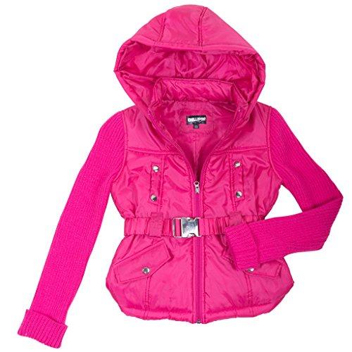397782-fuschia-4t-girls-padded-jacket-sweater-sleeves-coat-with-hood