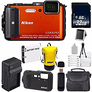 Nikon COOLPIX AW130 Waterproof Digital Camera (Orange) (International Model No Warranty) + Nikon CF-CP002 Silicone Jacket (Black) + Nikon Waterproof Bag Bundle 6