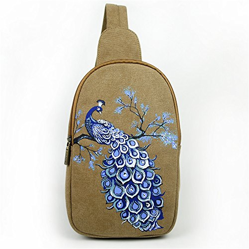 Vintage estilo pavo de bolsa azul bolsa hombro Bolsa de Multiusos escalada transporte Mochila real marrón flor ethinc de Crossbody pecho CnXqwUAg1