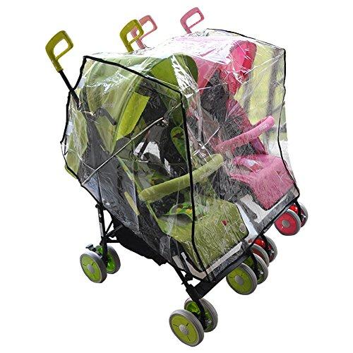 Aligle Twin stroller raincoat Universal Size Side By Side Stroller Weather Shield, Baby Rain Cover/Wind Shield