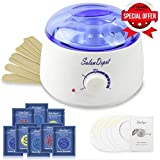 Waxing Kit(25 in 1), Wax Warmer Hair Removal Machine Home Wax Heater with 8 Hard Wax Beans(2 oz/pack) and10 Applicator Stickers for All Body, Face, Eyebrow, Bikini Area, Legs