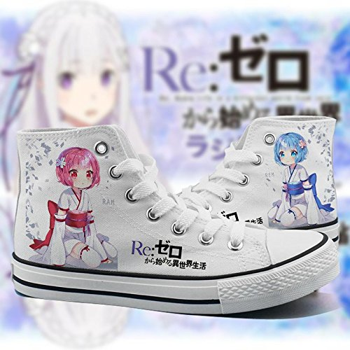 Re:ZERO Starting Life in Another World Cosplay Shoes Canvas Shoes Sneakers Black/White 2 White 3 3jVU1X