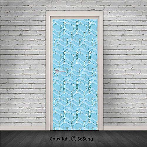 (Animal Decor Door Wall Mural Wallpaper Stickers,Cartoon like Seahorses for Kids Nursery Baby Girls Boys Childish Playroom Nautilus,Vinyl Removable 3D Decals 30.4x78.7/2 Pieces set,for Home Decor Blue)