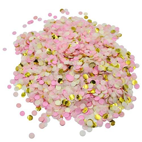 Mybbshower Blush Pink and Gold Circle Tissue Confetti for Wedding Toss Pack of 1 Oz - Blush Wedding Shower Decor