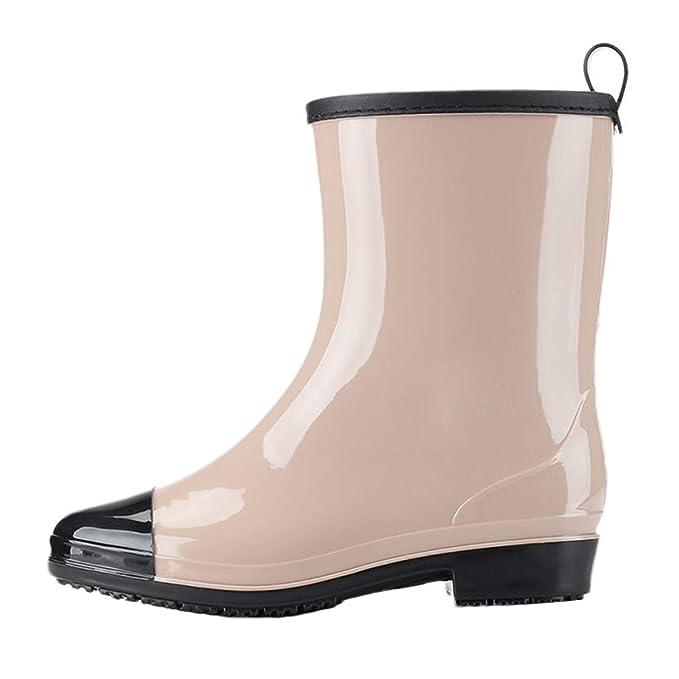 LANSKRLSP Stivali di Gomma alla Moda Donna Stivali da Pioggia Stivaletti da  Equitazione Chelsea Boots Impermeabile Antiscivolo Scarpe per Donna   Amazon.it  ... 347a55e0b50