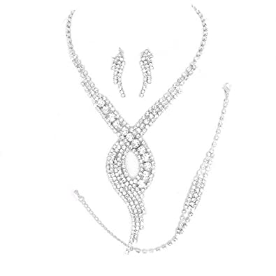 a4652719c Image Unavailable. Image not available for. Color: Uniklook Elegant Clear  Swirl Rhinestone Silver Bracelet Necklace Jewelry Studs Earrings ...